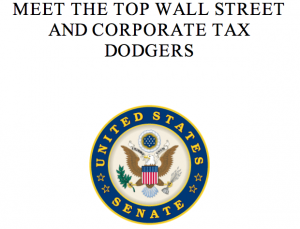 Senator Bernie Sanders' report on top tax cheats.